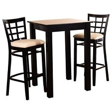 """3-Piece Pub Table and Chair Dining Room Set Black Bar Height 42"""" Square Kitchen"""