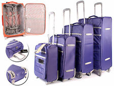Set of 4 Purple Lightweight Suitcases Wheeled 4 Wheel Spinner Hand Cabin Luggage