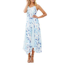 Women Fashion Boho Floral Ruffle Chiffon Party Maxi Dress Summer Beach Sundress