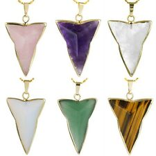 Amethyst/Quartz/Opal Triangle Healing Crystal Point Gemstone Pendant Gold Plated