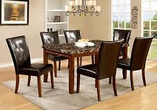 Faux Marble Table Padded Leatherette Chairs Antique Oak Finish 7pc Dining Set