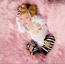 3PCS Newborn Infant Girls Headbands,Jumpsuits,Leg Warmer Outfits 0-24Months