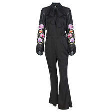 Womens Black Sheer Sleeve Embroidered Flare Romper Jumpsuit Playsuit Trousers