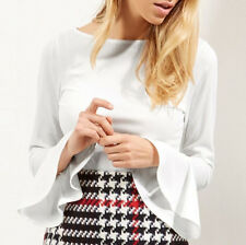 Women Fashion White Ribbed Bell Sleeve Top Knit Pullover Jumper T-shirt Blouse