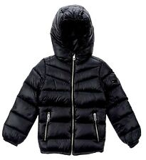 DIESEL Girl Quilted Hooded Padded Winter Bubble Down Puffer w/ Hood JACKET BLACK