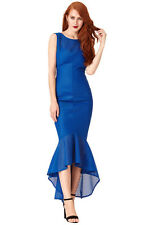 NEW BLUE TEXTURED FISHTAIL COCKTAIL EVENING  PROM PARTY MAXI DRESS SIZE(8-14)