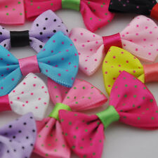 20/40/200pcs Upick Satin Ribbon Bows Print Dot DIY Sewing Appliques Crafts A096
