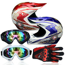 Motocross Off-Road Racing DOT Motorcycle IN945 Safety Helmet+Goggles+Gloves Best
