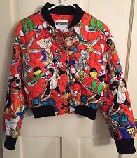 Moschino Couture X Jeremy Scott Looney Tunes Quilted Silk Orange Bomber Jacket