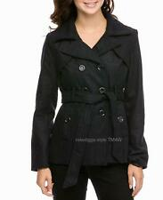 Black Peacoat Double Breasted 3 Button w Belt Trench Wool Blend Jacket Sm or Med