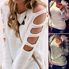 Womens Long Sleeve Jumper Tops Cold Shoulder Knitwear Blouse Tunic Sweatershirt
