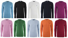 Mens Ralph Lauren Polo Cable Knit Jumper Soft Touch Small Pony Sweater Crew Neck