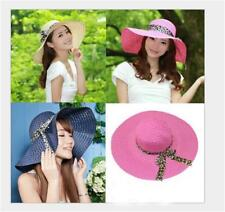 Fashion Women Summer Beach Straw Hat Wide Brim Floppy Holiday Foldable Sun Hat