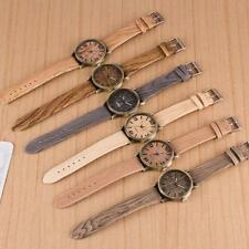 Vintage Jewelry Wooden Wristwatch Leather Strap Quartz Analog
