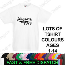 Gorgeous Since ( Your Year) Personalised Baby Kids Boys Girls Ages 1-15 T Shirt