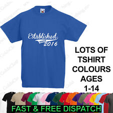 Established Since (Your Year) Personalised Baby Kids Boys Girls Ages 1-15 TShirt