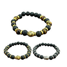 Charming Lava Stone Buddha Beaded Rock Elastic Bracelet Bangle Bracelet