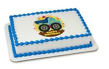 Truck Happy Birthday edible image cake topper frosting sheet personalized #504