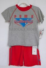"PUMA ""Practice Victory"" Print Toddler's Two-Piece Tee Top & Shorts Set NWT"