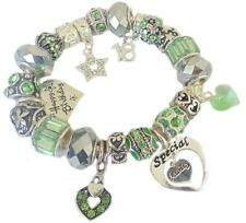 Ladies Charm Bracelet Personalise GREEN SILVER SPARKLE Birthday PRESENT Gift BOX
