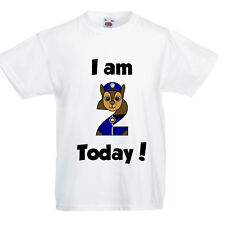 Paw Patrol Birthday T shirt CHASE - any age - size - Personalised!