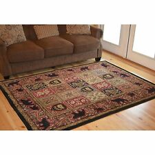 Rustic Panel Bear Lodge Rug 2x3 2x8 Runner 4x6 5x8 8x10~Multi Color~Cabin Rugs