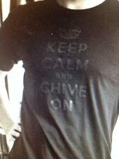 """the Chive *Authentic* """"Keep Calm and Chive On"""" Black on Black t-shirt M L XL 3XL"""