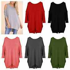 WOMENS LADIES CUT OUT COLD SHOULDER BATWING LONG TOP TUNIC DRESS PLUS SIZE 8-22
