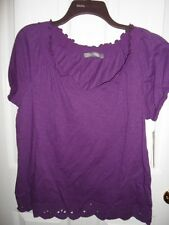 DAISY FUENTES PURPLE EYELET KNIT PEASANT BOHO RUFFLE COTTON TOP BLOUSE M L XL