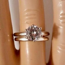.925 Sterling Silver wedding Set CZ Round Cut Engagement Ring Size 11 New w87