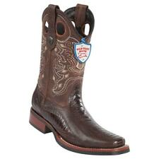 Men's Wild West Genuine Ostrich Leg Square Toe Rodeo Boots Rubber Sole Handmade