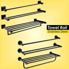 Bathroom Square/Round Towel Rack Rails Shelf Holder Stainless Steel Matt Black