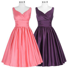 Ladies 50s Vintage Formal Cocktail Ball Gown Evening Prom Party Swing Dress Pink