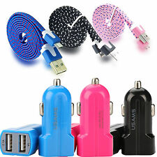 Dual Port Car Charger and USB to Micro USB 2.0 Fabric Charging Data Sync Cable