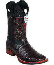 Men's Wild West Genuine Rodeo Caiman Belly Boots Wide Square Toe Rubber Sole