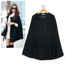 Women Casual Cape Black Batwing Poncho Jacket Lady Winter Warm Cloak Coat