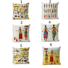 African People Wild Animal Cushion Covers Cotton Linen Throw Pillow Case
