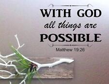 """Matthew 19:26 BIBLE VERSE Quote """"With God all things are"""" Wall Art vinyl Decal"""