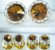 SMOKED TOPAZ TUXEDO CUFFLINKS & STUDS SET CUSTOM MADE WITH SWAROVSKI CRYSTALS
