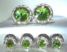 PERIDOT TUXEDO CUFFLINKS & STUDS SET CUSTOM MADE WITH SWAROVSKI CRYSTALS