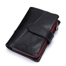 Men Crazy Horse Cowhide Leather Wallets Card Holder Vintage Long Wallet