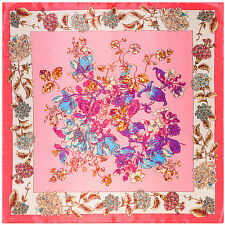 "New Arrival Women's Vintage Pink Flower Printed Square Satin-Silk Scarf 35""*35"""
