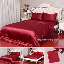 40Momme 100% Pure Silk Duvet Cover Sheets Pillow Cases Seamed Wine Aisilk