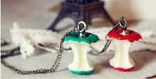 Cute & Quirky Vintage Apple Core Long Brass Chain Necklace