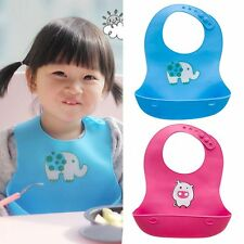 Lovely Unisex Baby Infants Kids Soft Silicone Bibs Cute Waterproof Lunch Bibs