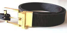 NWT Michael Kors Women's Reversible MK Logo Monogram Belt Chocolate Brown 551508