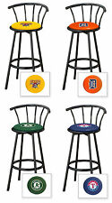 "BAR STOOLS MLB TEAM LOGO THEME 29"" TALL BLACK FINISH METAL SWIVEL SEAT BARSTOOLS"