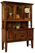 "Amish Bridgton Dining Room Hutch Rustic Turn Buckle China Cabinet Wood 60""W"