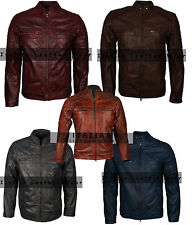 Mens Classic Cafe Racer Leather Motorcycle 70s Vintage Waxed Real Leather Jacket