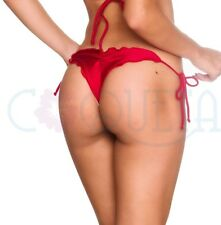 COQUETA SWIMWEAR brazilian sexy tiny cheeky bikini bottom ruffle THONG RED